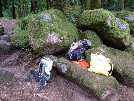 3 rucksacks on moss covered rocks